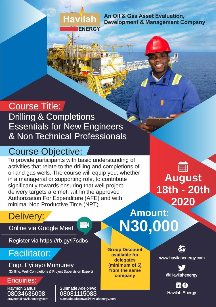 Enrol for the next batch of Drilling & Completion Essentials for New Engineers & Non Technical Professionals