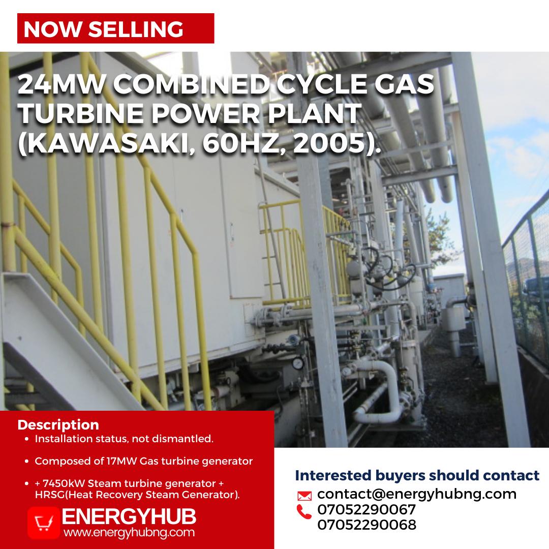 For sale: 24MW Combined Cycle Gas Turbine Power Plant (Kawasaki, 60Hz, 2005).