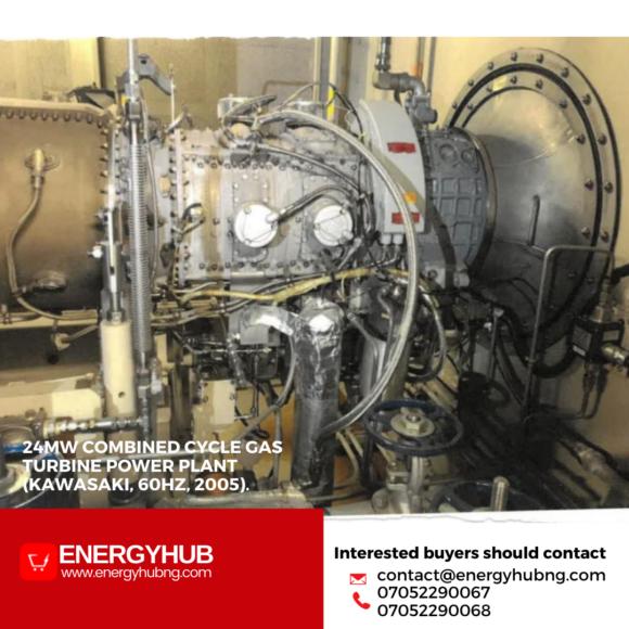 For sale: 24MW Combined Cycle Gas Turbine Power Plant (Kawasaki, 60Hz, 2005). in Nigeria