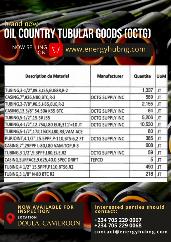OIL COUNTRY TUBULAR GOODS (OCTG) in Cameroon now on energyhubng.com
